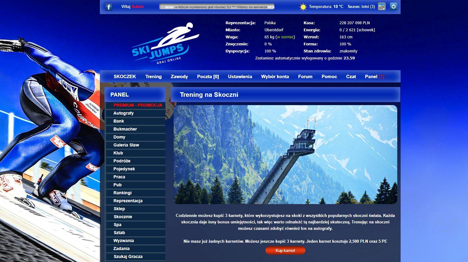manager online gry sportowe zimowe narciarskie